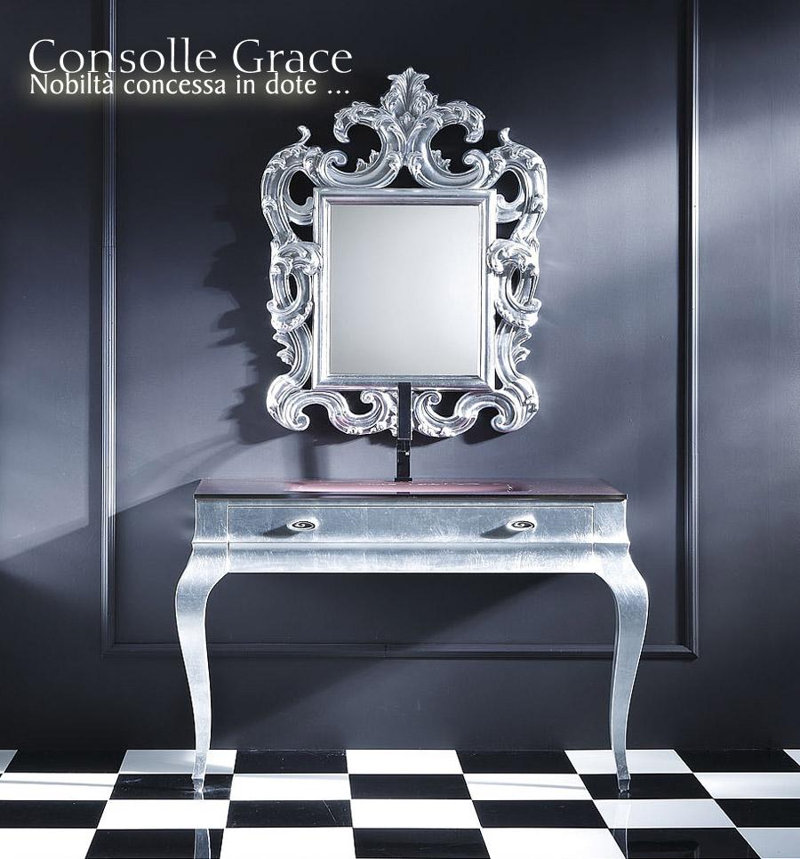 Consolle grace mobile di pregio per l 39 arredamento del bagno in stile classico costruita in - Consolle bagno classico ...