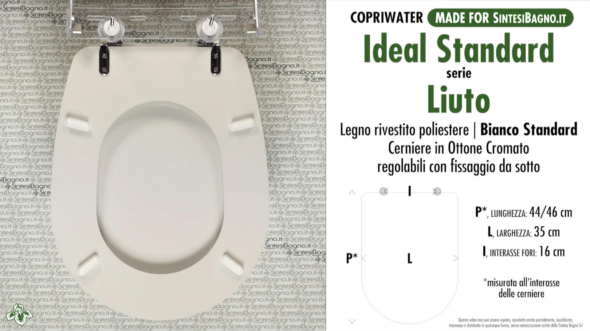 Copriwater dedicato per vaso ideal standard serie liuto for Copriwater ideal standard