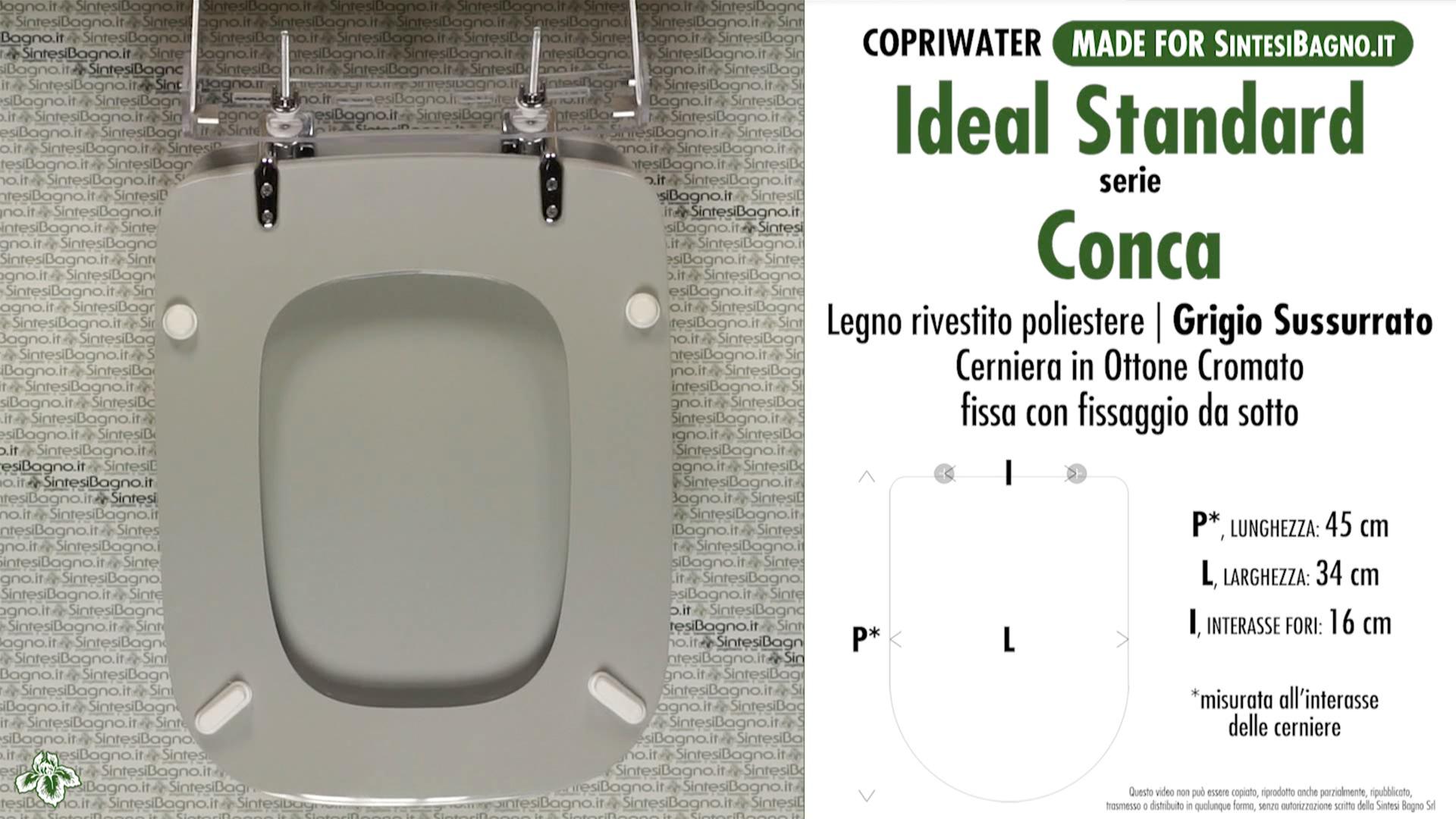 Copriwater per vaso conca ideal standard grigio for Copriwater ideal standard