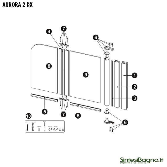Aurora 2 ricambio cerniere tra ante per parete sopravasca for Parete sopravasca