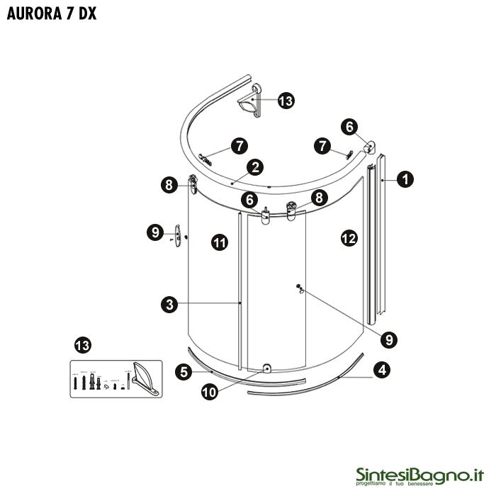 Novellini Box Doccia Ricambi.Aurora 6 7 Supporto Inferiore Anta Scorrevole Per Parete