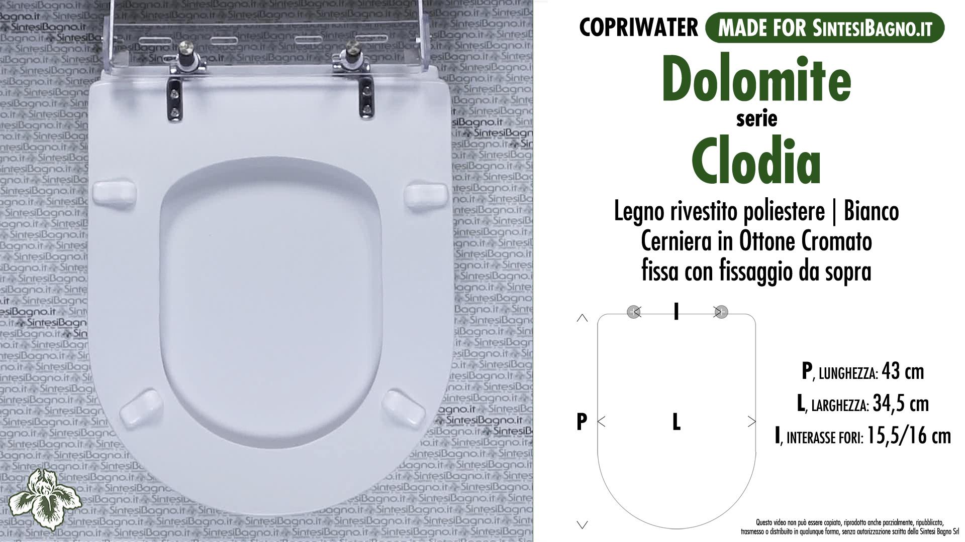 Copriwater per vaso clodia dolomite tipo dedicato for Dolomite serie clodia