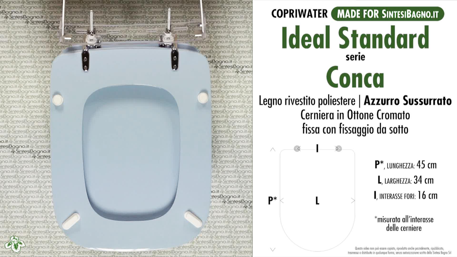 copriwater per vaso conca ideal standard azzurro sussurrato dilconconcaas ebay. Black Bedroom Furniture Sets. Home Design Ideas