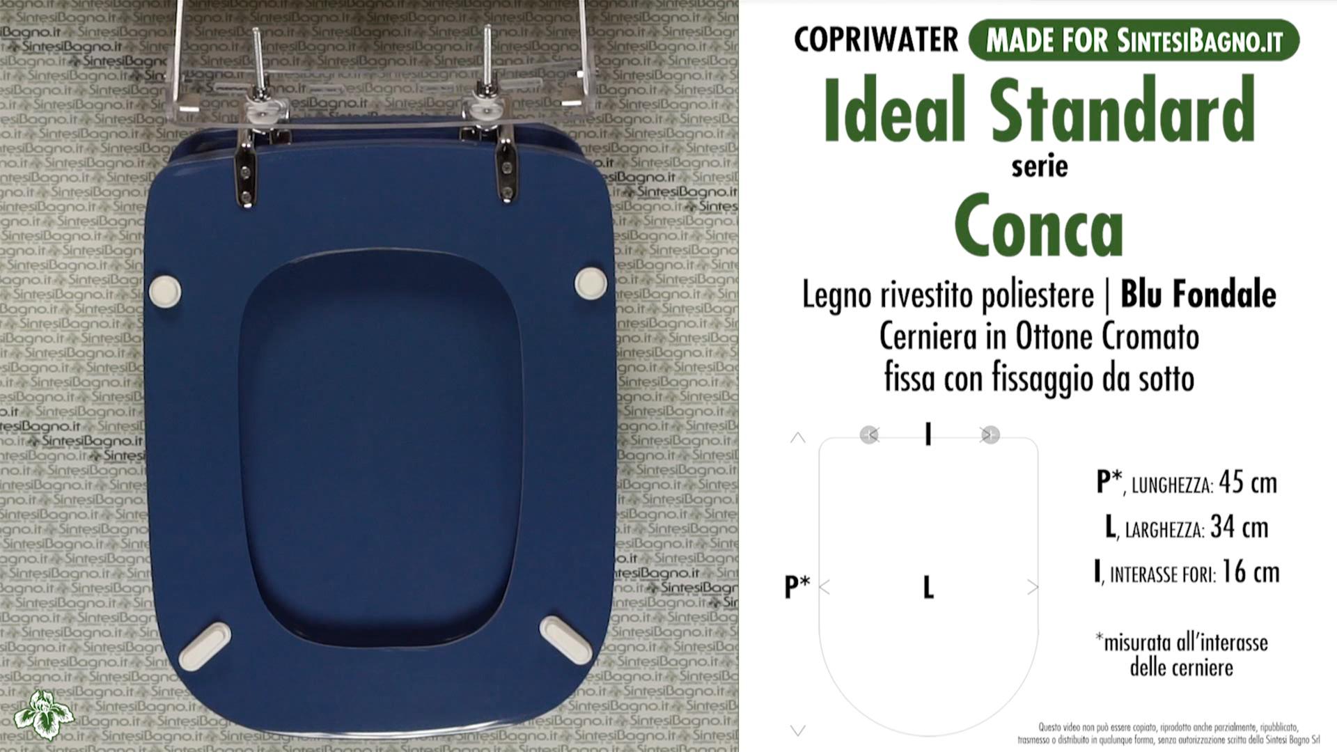 Copriwater per vaso conca ideal standard blu fondale for Copriwater conca ideal standard originale