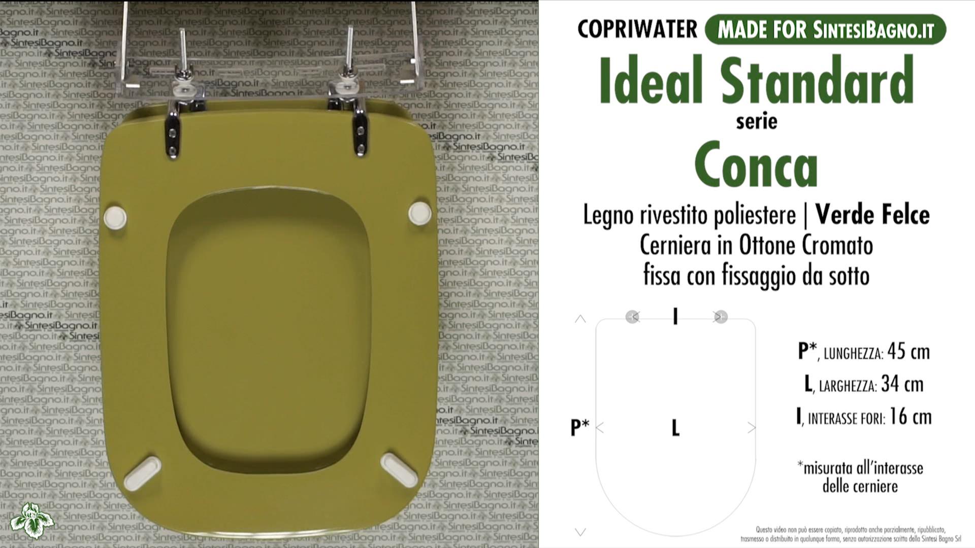 Copriwater Per Vaso Conca Ideal Standard Verde Felce