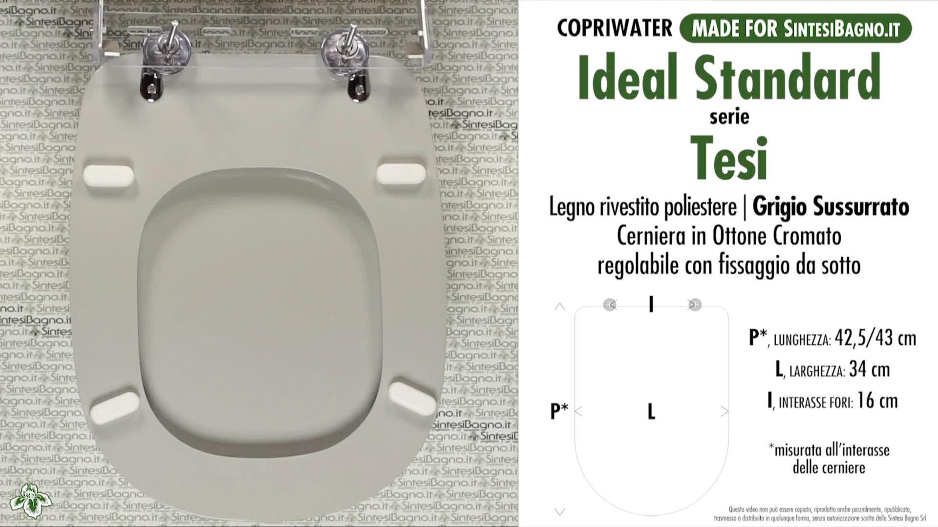 Copriwater per vaso tesi ideal standard grigio for Ideal standard tesi scheda tecnica