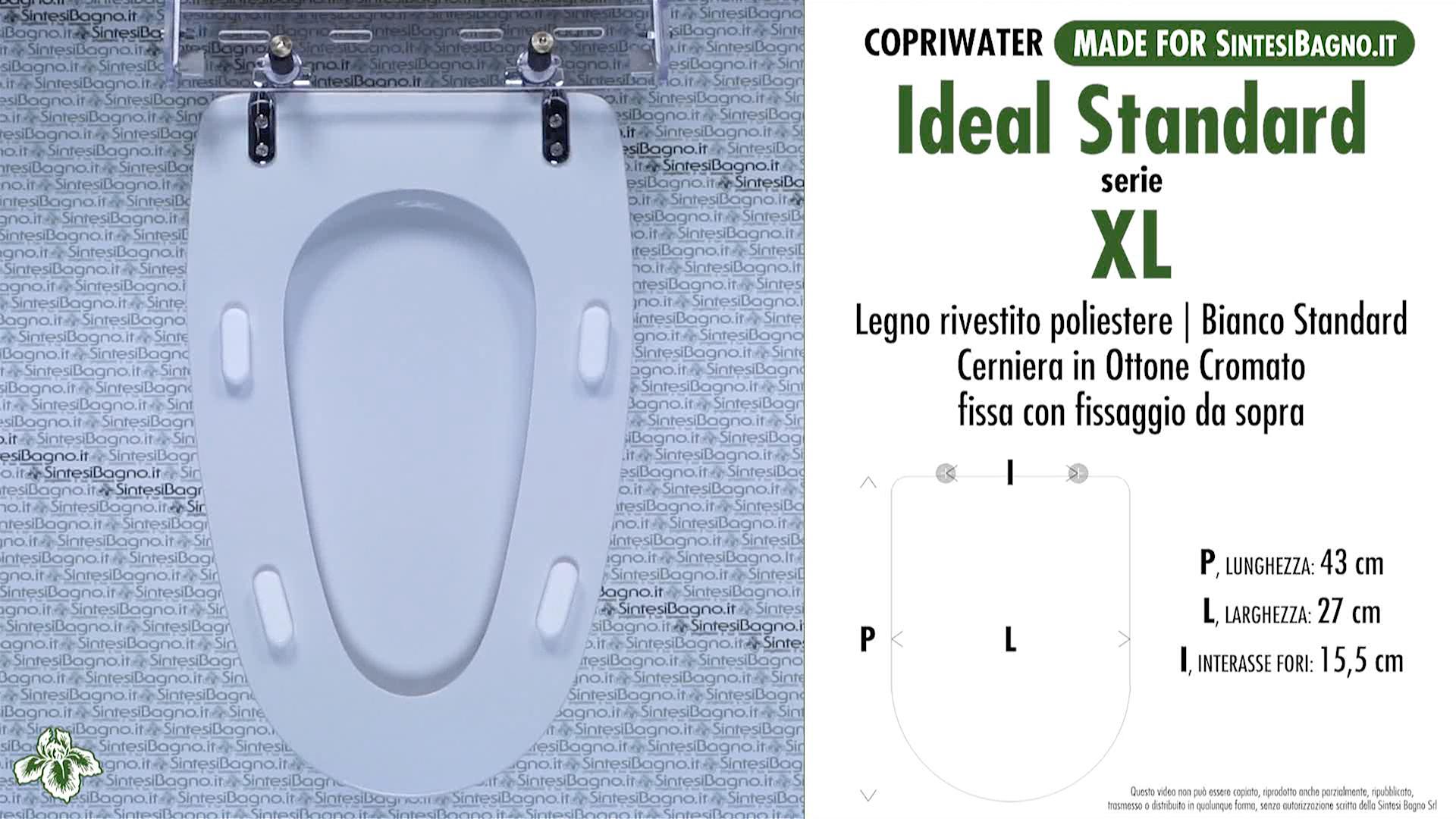 Copriwater dedicato vaso xl ideal standard legno for Ideal standard cantica copriwater