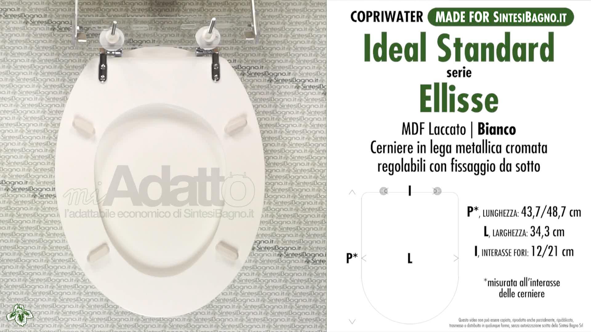 Copriwater Per Wc Ellisse Ideal Standard Bianco Tipo Adattabile