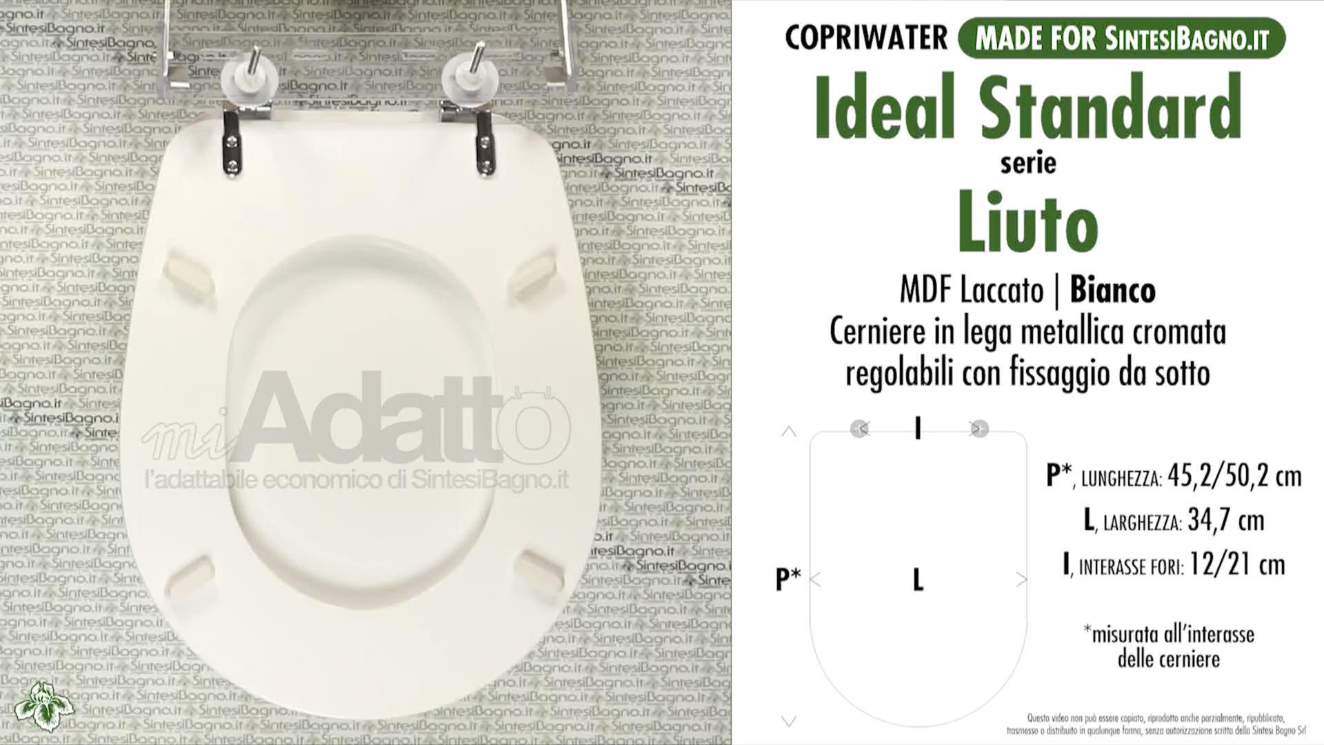 Copriwater per wc liuto ideal standard bianco tipo for Copriwater conca ideal standard originale